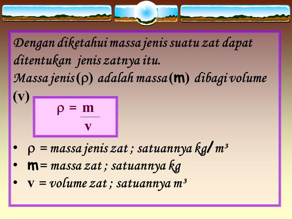 Dengan diketahui massa jenis suatu zat dapat ditentukan jenis zatnya itu.