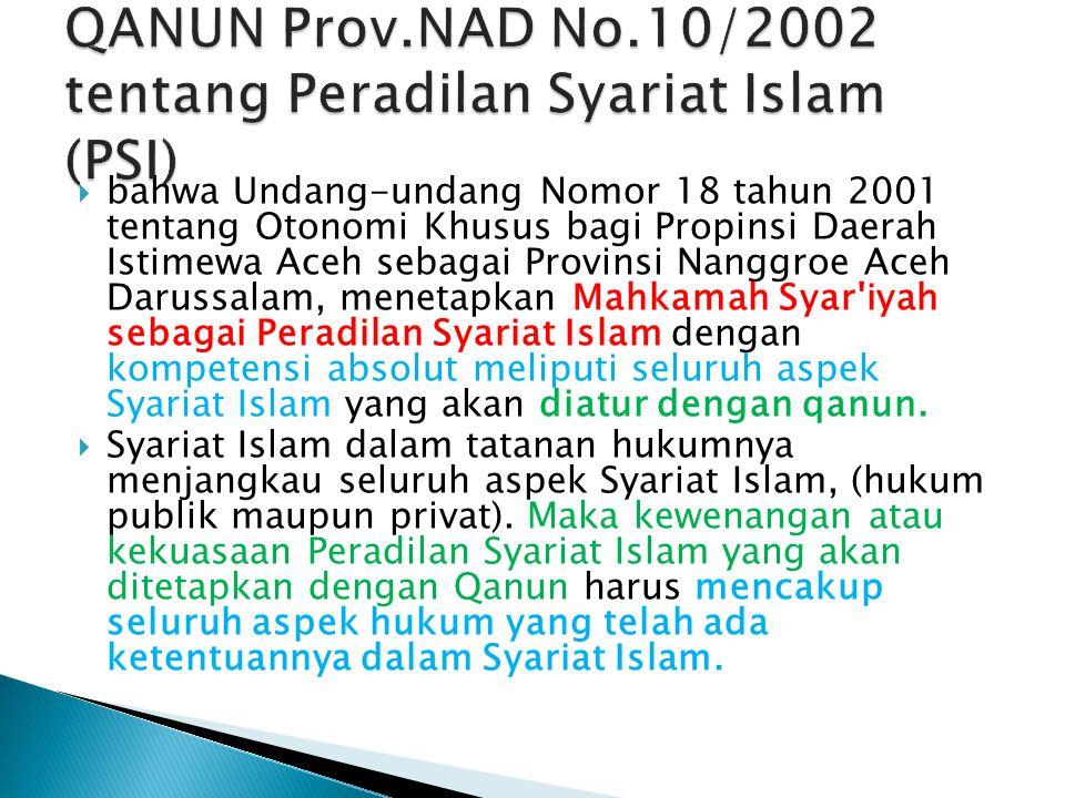 QANUN Prov.NAD No.10/2002 tentang Peradilan Syariat Islam (PSI)