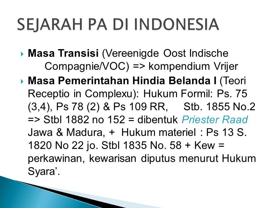 SEJARAH PA DI INDONESIA
