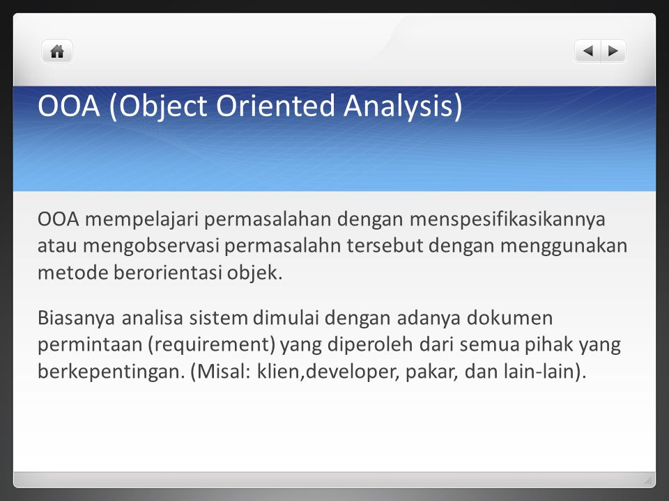 OOA (Object Oriented Analysis)