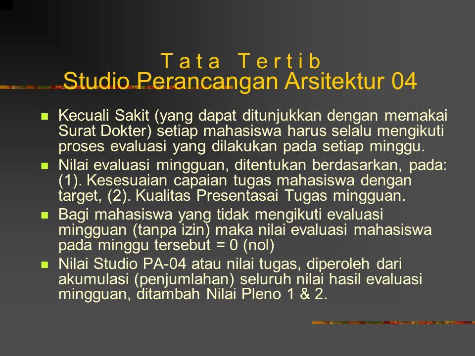T a t a T e r t i b Studio Perancangan Arsitektur 04