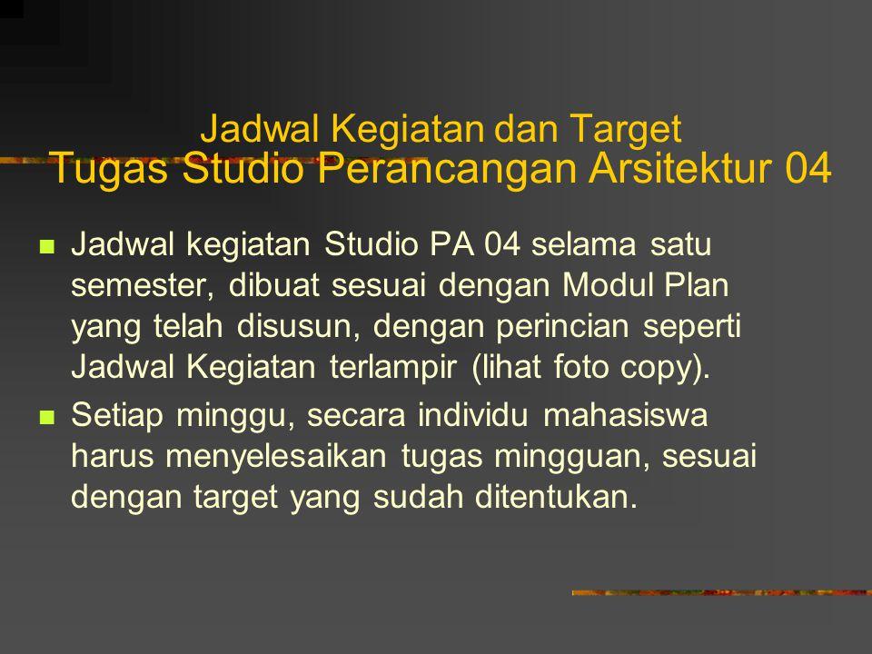Jadwal Kegiatan dan Target Tugas Studio Perancangan Arsitektur 04