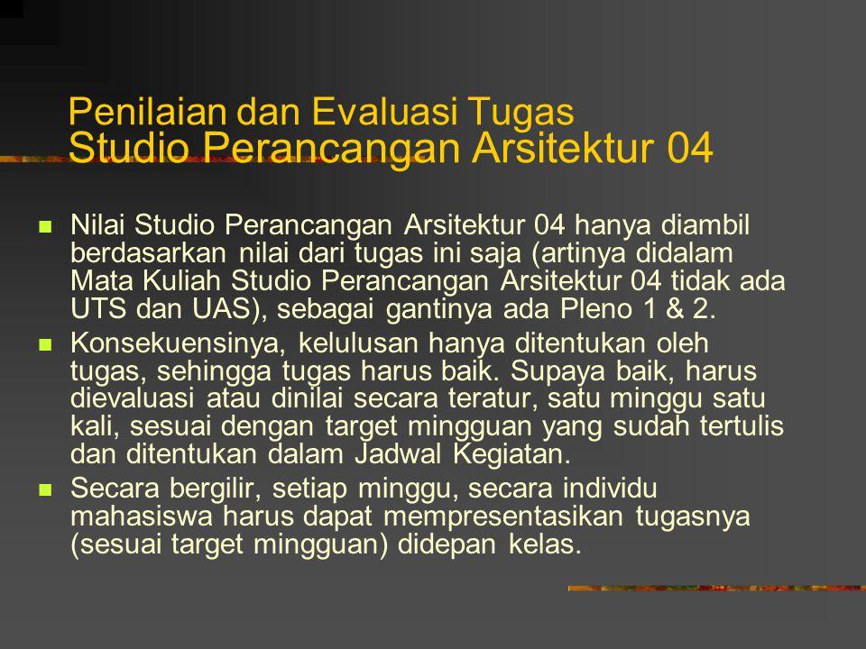 Penilaian dan Evaluasi Tugas Studio Perancangan Arsitektur 04