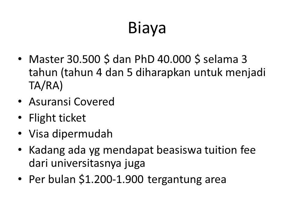 Biaya Master 30.500 $ dan PhD 40.000 $ selama 3 tahun (tahun 4 dan 5 diharapkan untuk menjadi TA/RA)