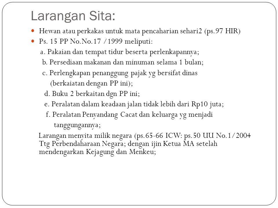 Larangan Sita: Hewan atau perkakas untuk mata pencaharian sehari2 (ps.97 HIR) Ps. 15 PP No.No.17 /1999 meliputi: