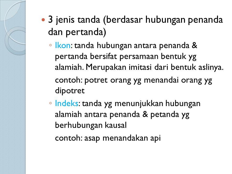 3 jenis tanda (berdasar hubungan penanda dan pertanda)