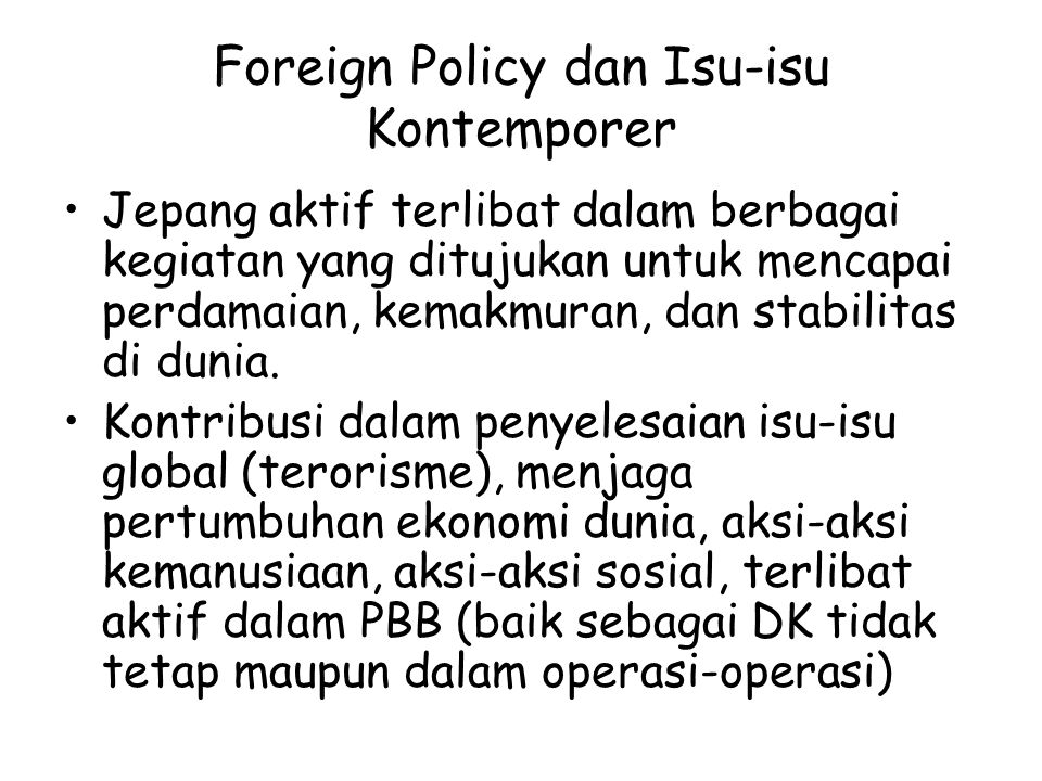 Foreign Policy dan Isu-isu Kontemporer