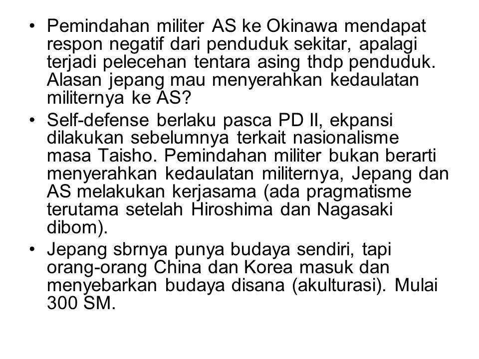Pemindahan militer AS ke Okinawa mendapat respon negatif dari penduduk sekitar, apalagi terjadi pelecehan tentara asing thdp penduduk. Alasan jepang mau menyerahkan kedaulatan militernya ke AS
