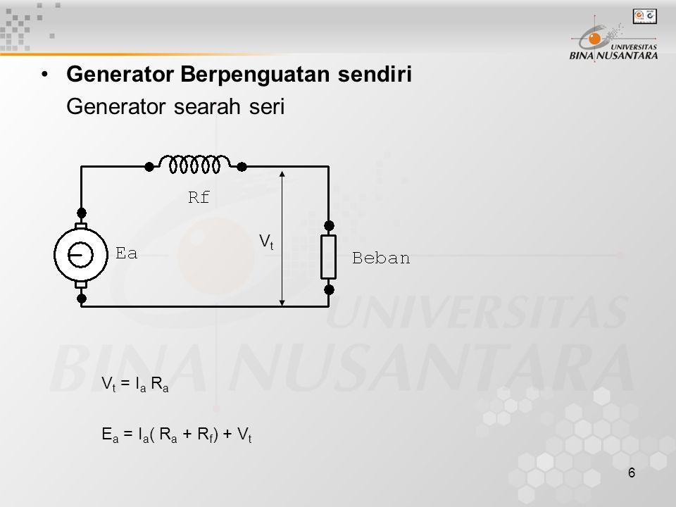 Generator Berpenguatan sendiri Generator searah seri
