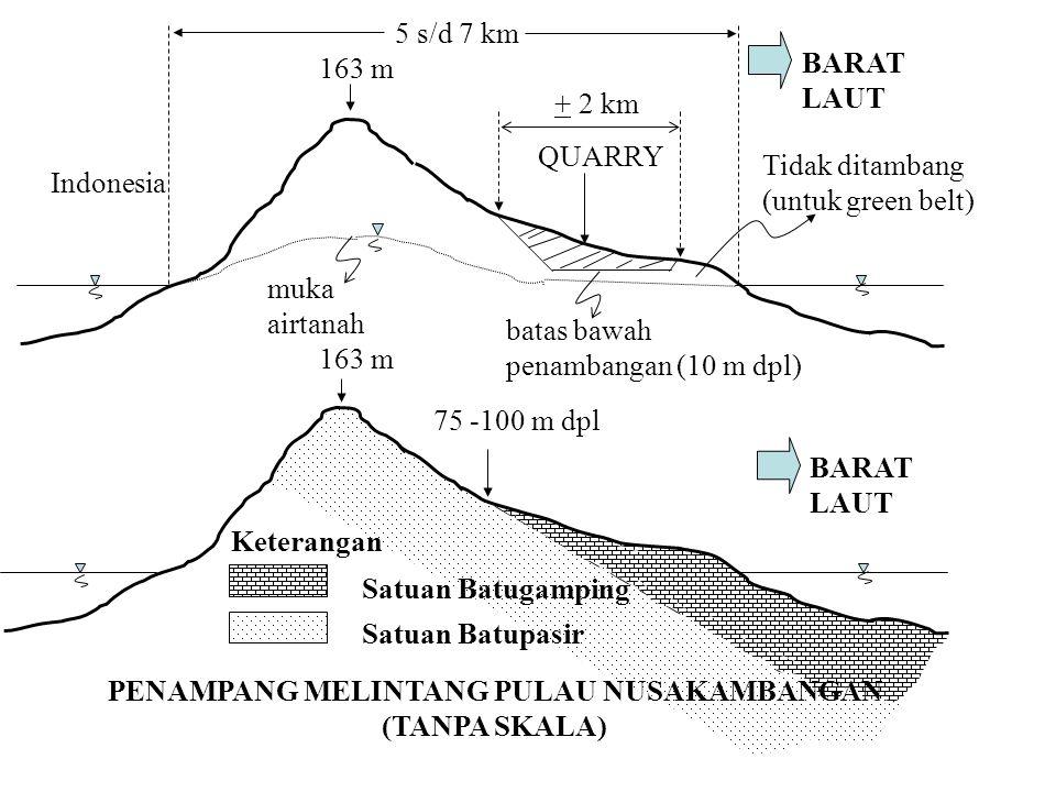 PENAMPANG MELINTANG PULAU NUSAKAMBANGAN (TANPA SKALA)
