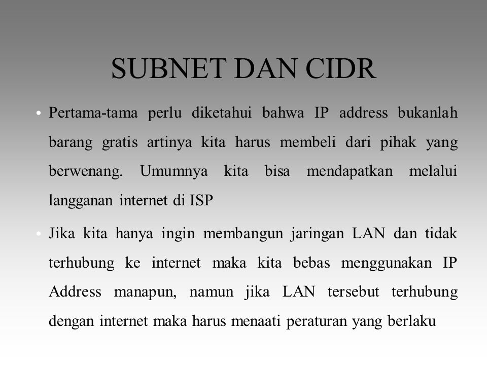 SUBNET DAN CIDR