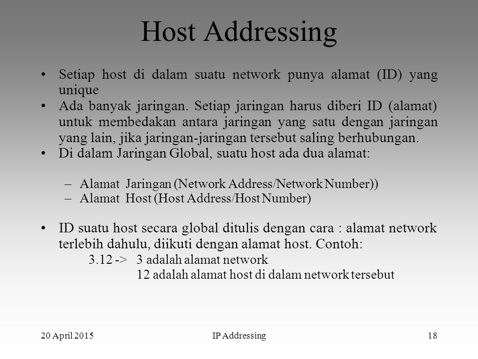 Host Addressing Setiap host di dalam suatu network punya alamat (ID) yang unique.