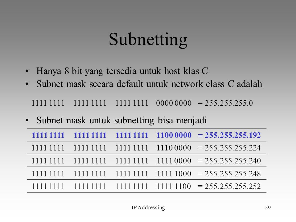 Subnetting Hanya 8 bit yang tersedia untuk host klas C