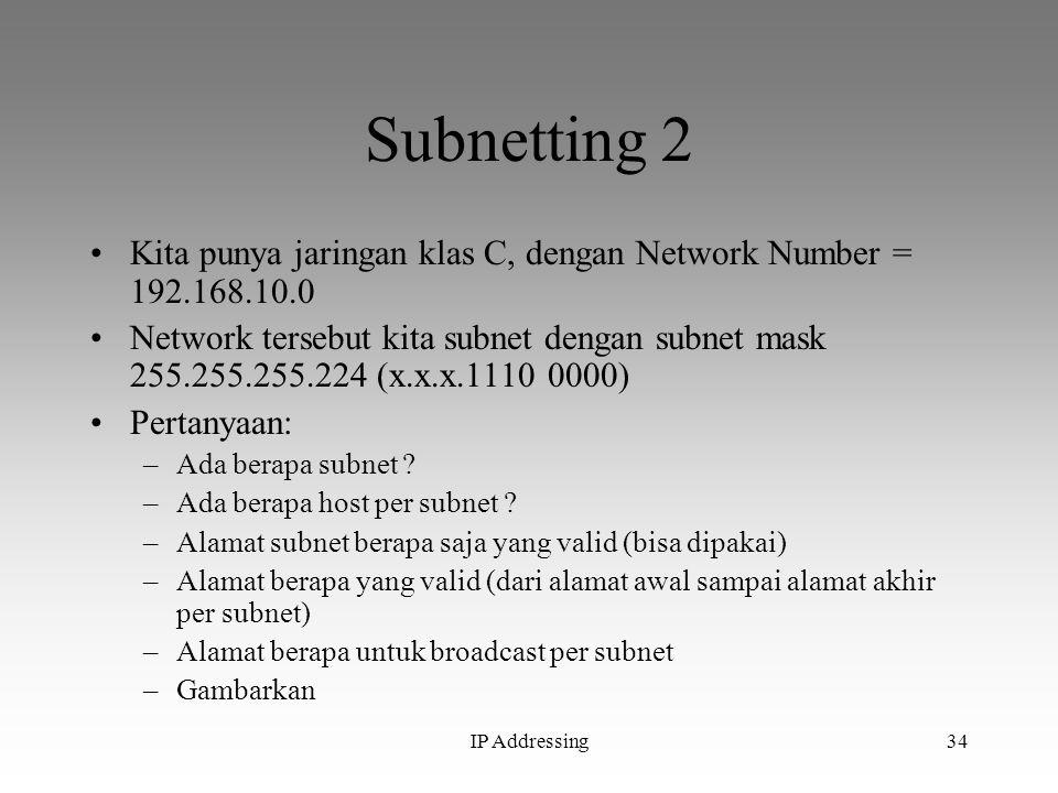 Subnetting 2 Kita punya jaringan klas C, dengan Network Number = 192.168.10.0.