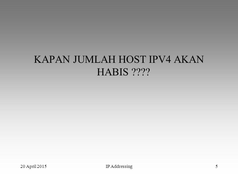KAPAN JUMLAH HOST IPV4 AKAN HABIS