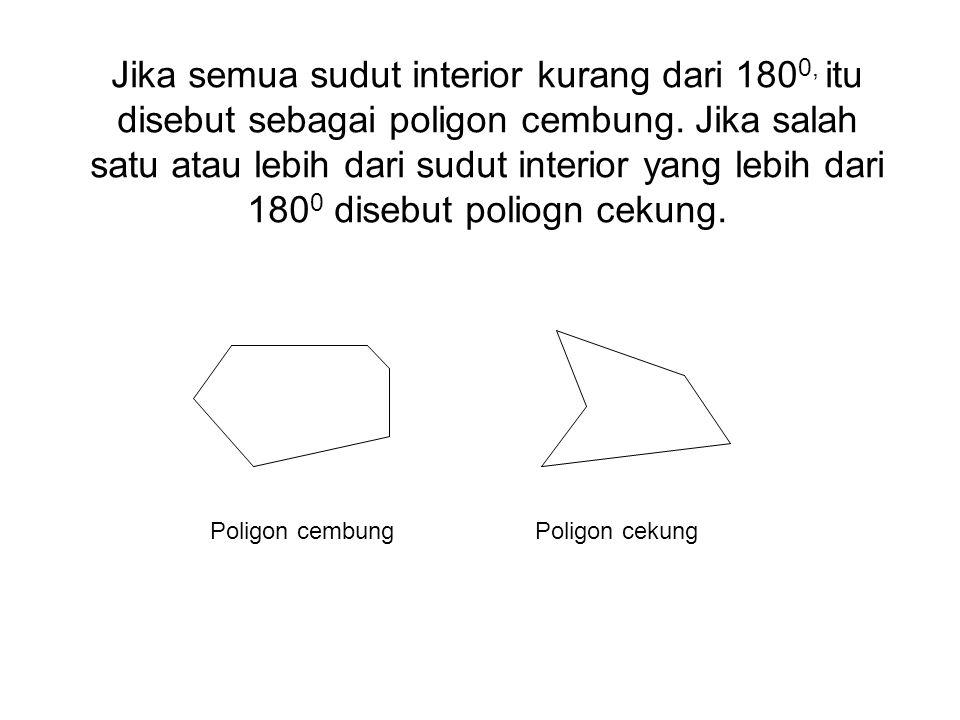 Jika semua sudut interior kurang dari 1800, itu disebut sebagai poligon cembung. Jika salah satu atau lebih dari sudut interior yang lebih dari 1800 disebut poliogn cekung.