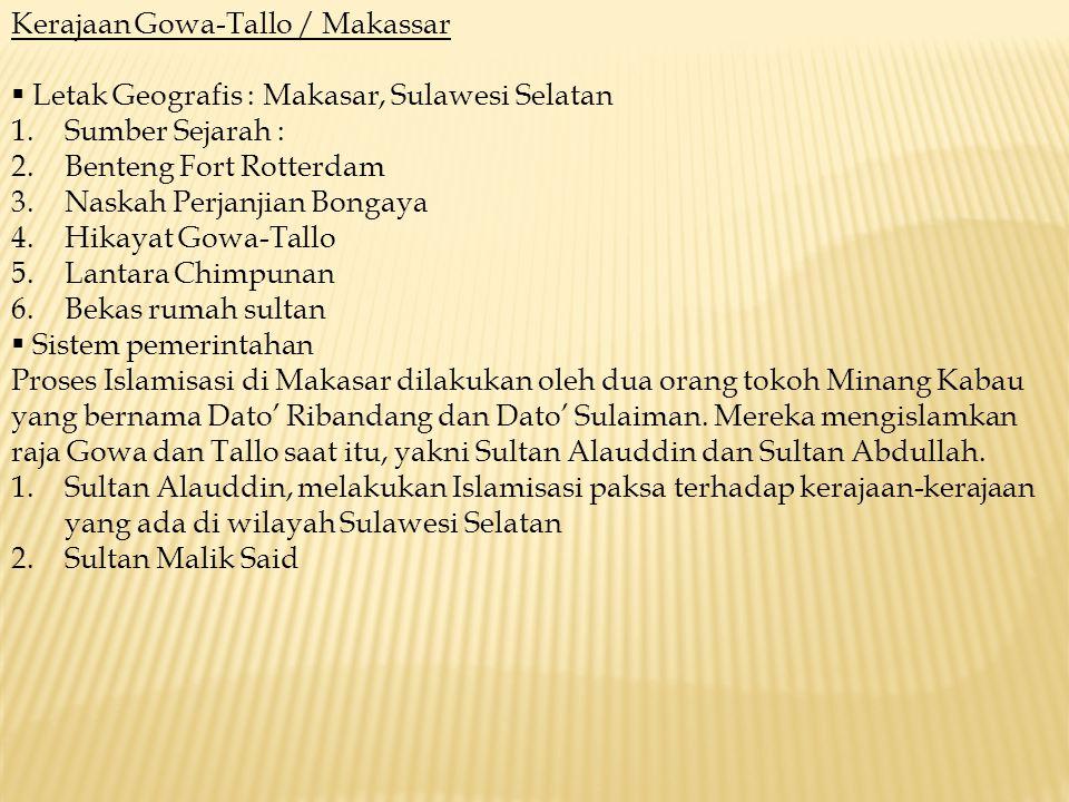 Kerajaan Gowa-Tallo / Makassar
