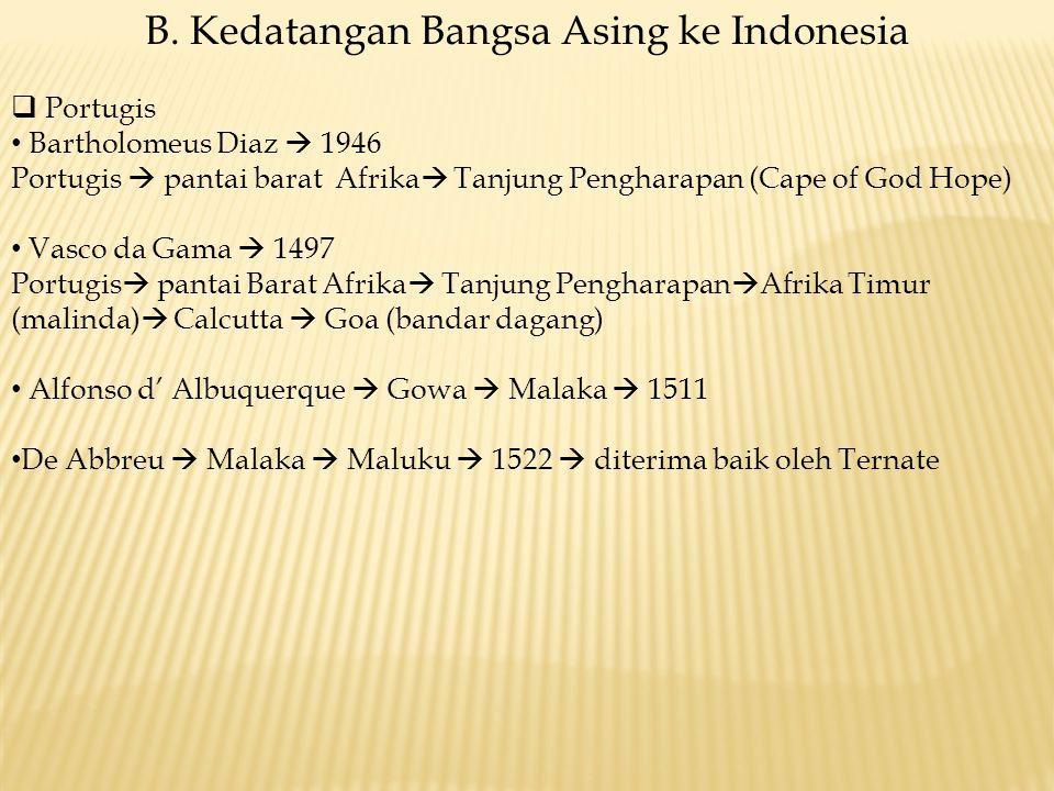 B. Kedatangan Bangsa Asing ke Indonesia