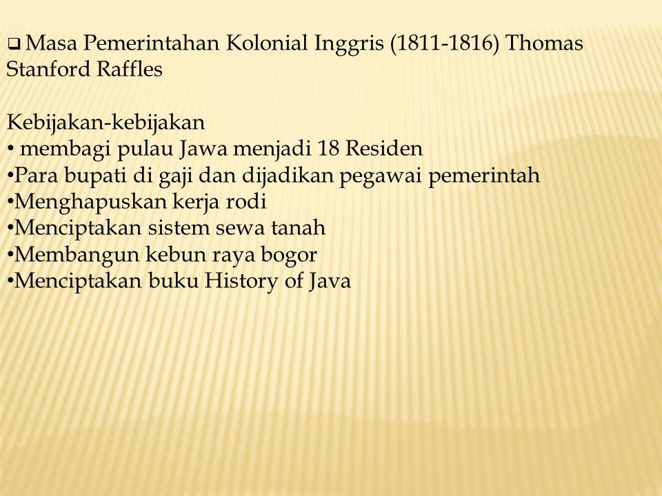 membagi pulau Jawa menjadi 18 Residen
