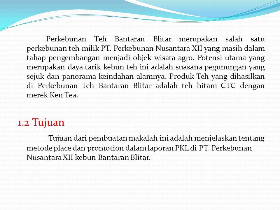 Perkebunan Teh Bantaran Blitar merupakan salah satu perkebunan teh milik PT. Perkebunan Nusantara XII yang masih dalam tahap pengembangan menjadi objek wisata agro. Potensi utama yang merupakan daya tarik kebun teh ini adalah suasana pegunungan yang sejuk dan panorama keindahan alamnya. Produk Teh yang dihasilkan di Perkebunan Teh Bantaran Blitar adalah teh hitam CTC dengan merek Ken Tea.