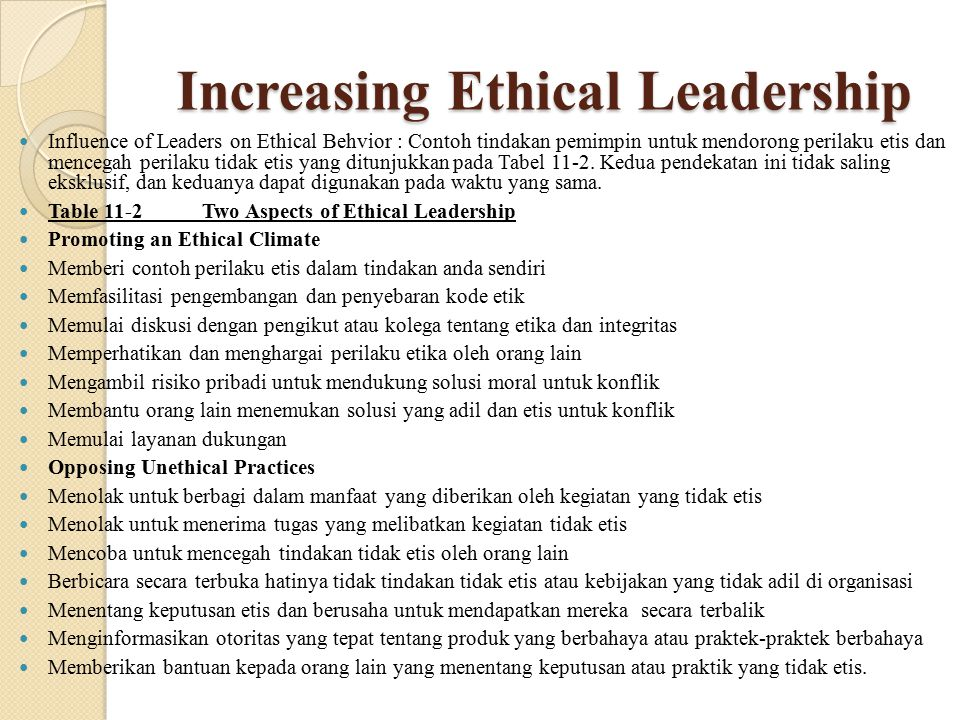 Increasing Ethical Leadership