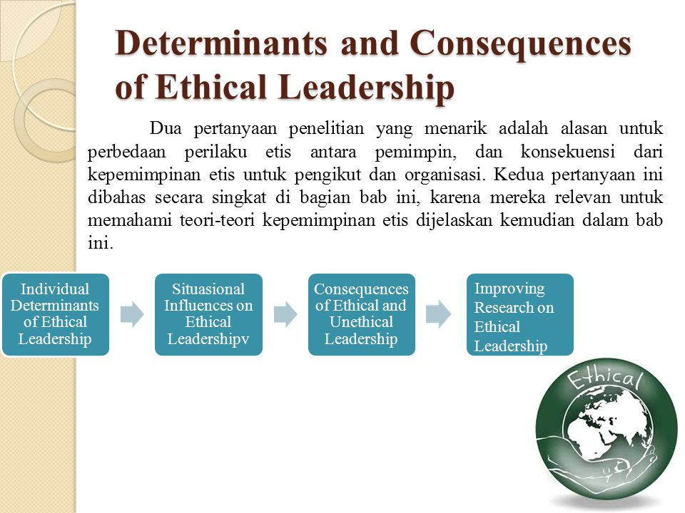 Determinants and Consequences of Ethical Leadership