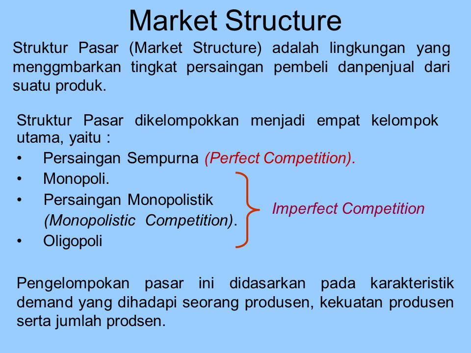Market Structure Struktur Pasar (Market Structure) adalah lingkungan yang menggmbarkan tingkat persaingan pembeli danpenjual dari suatu produk.