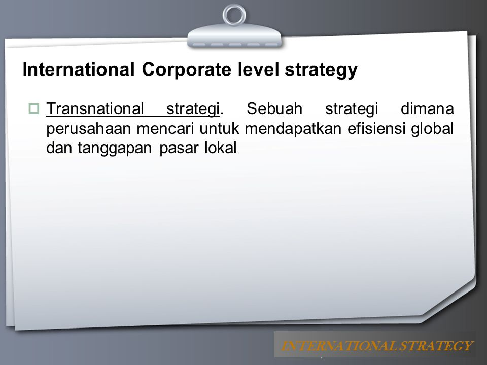 International Corporate level strategy