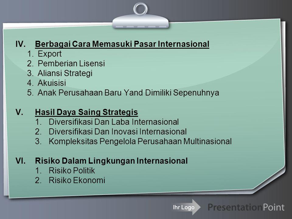 IV. Berbagai Cara Memasuki Pasar Internasional