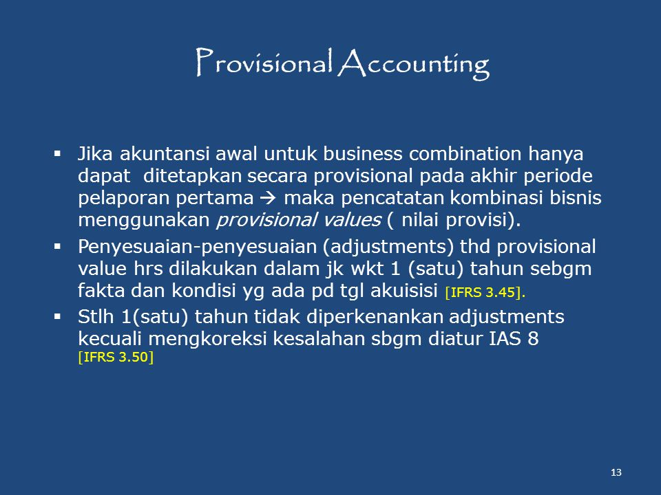 Provisional Accounting