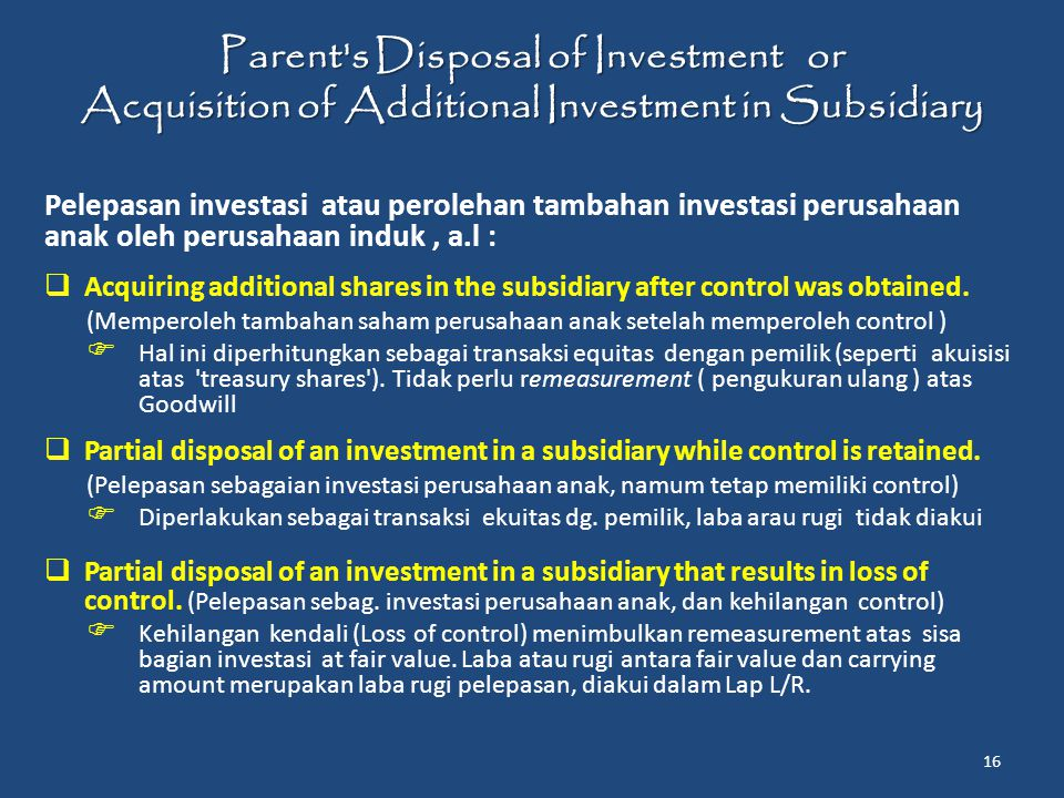 Parent s Disposal of Investment or Acquisition of Additional Investment in Subsidiary