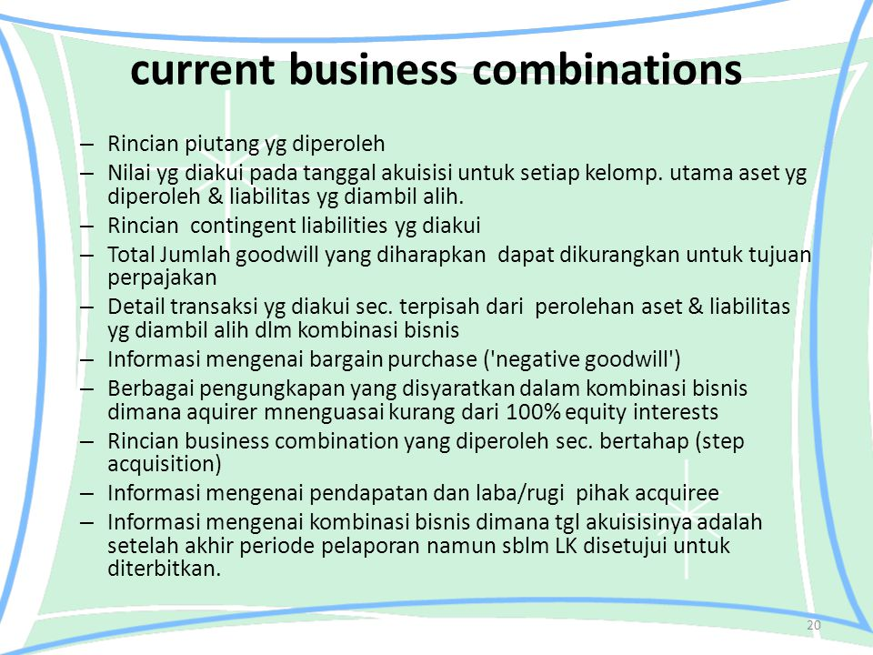 current business combinations