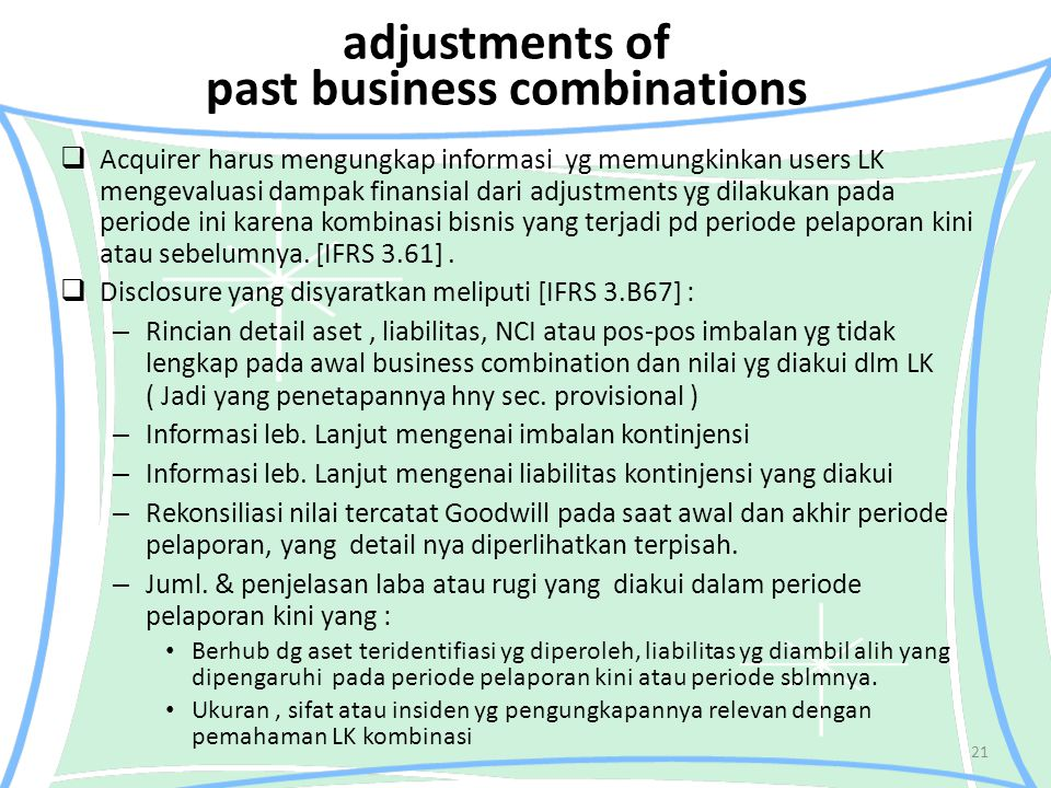 adjustments of past business combinations