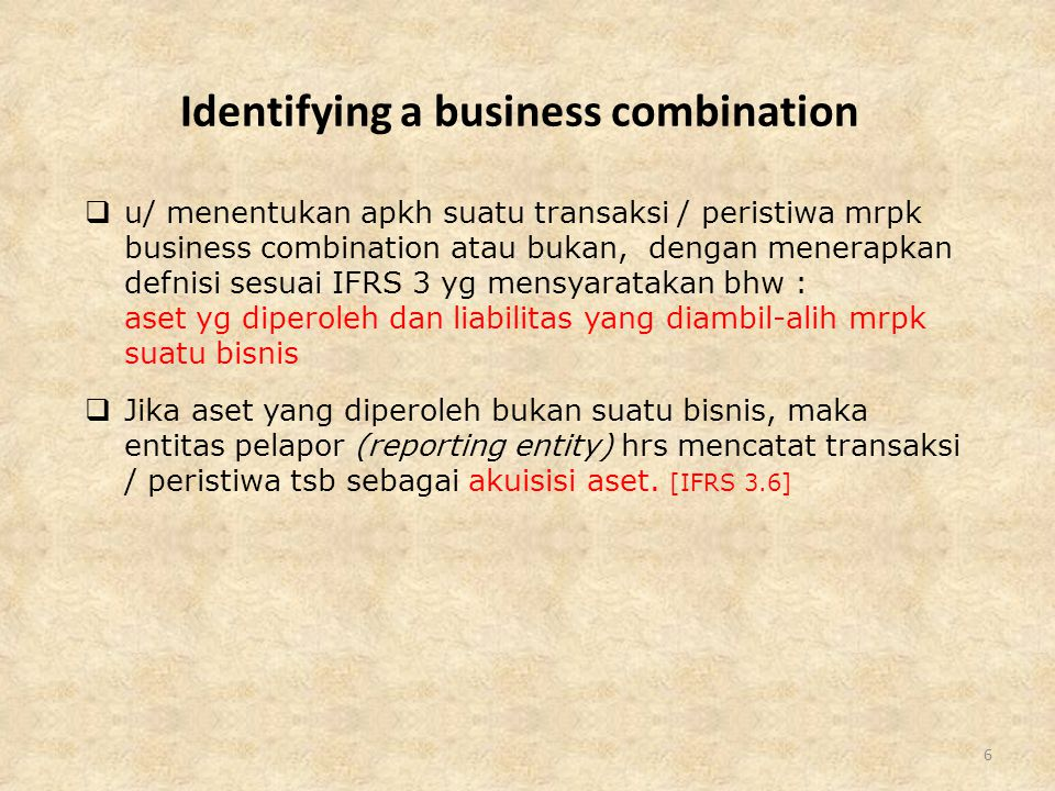 Identifying a business combination
