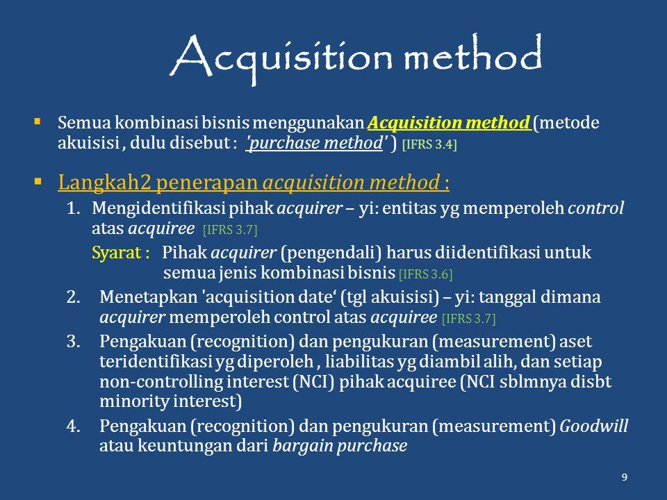 Acquisition method Langkah2 penerapan acquisition method :