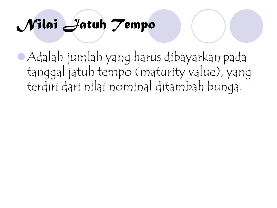 Nilai Jatuh Tempo Adalah jumlah yang harus dibayarkan pada tanggal jatuh tempo (maturity value), yang terdiri dari nilai nominal ditambah bunga.