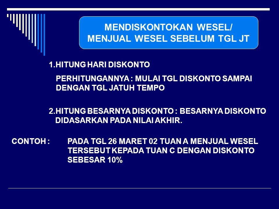 MENDISKONTOKAN WESEL/ MENJUAL WESEL SEBELUM TGL JT