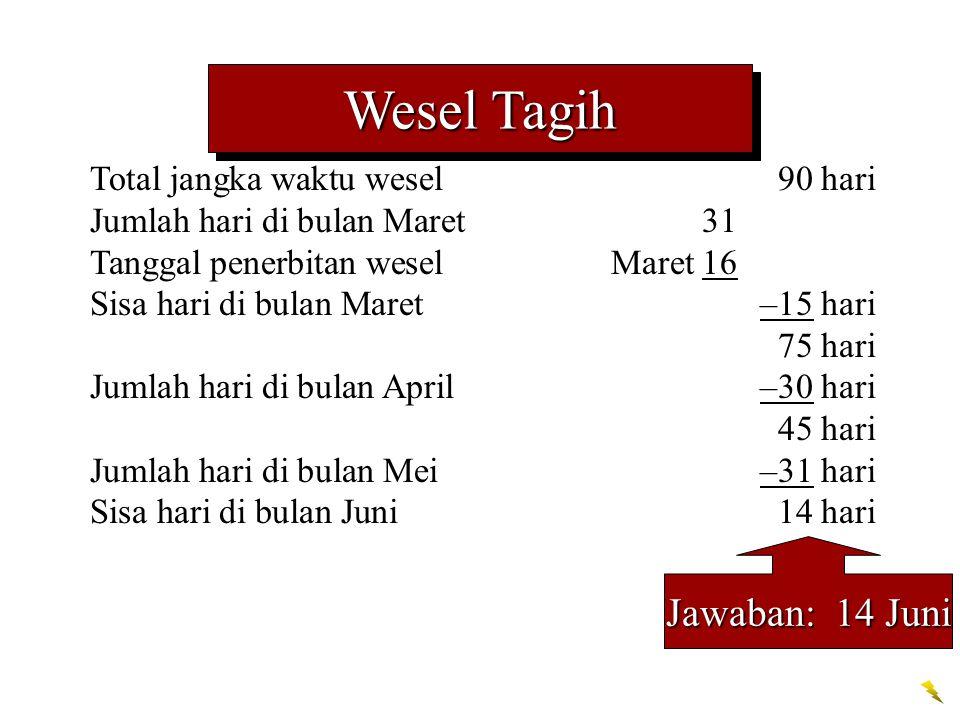 Wesel Tagih Jawaban: 14 Juni Total jangka waktu wesel 90 hari