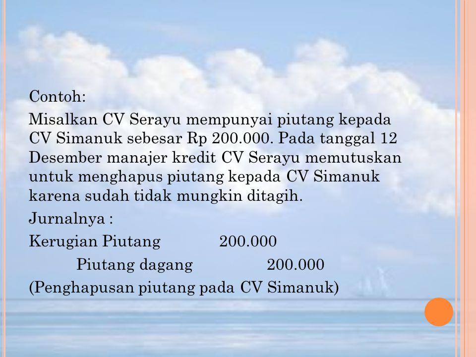 Contoh: Misalkan CV Serayu mempunyai piutang kepada CV Simanuk sebesar Rp 200.000.