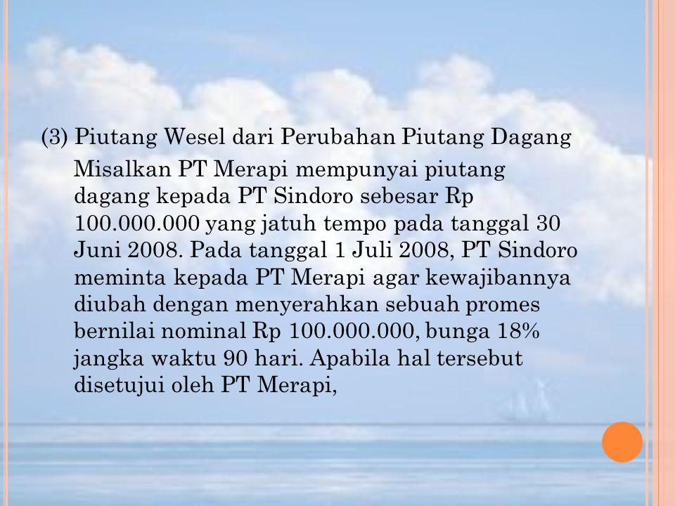 (3) Piutang Wesel dari Perubahan Piutang Dagang Misalkan PT Merapi mempunyai piutang dagang kepada PT Sindoro sebesar Rp 100.000.000 yang jatuh tempo pada tanggal 30 Juni 2008.