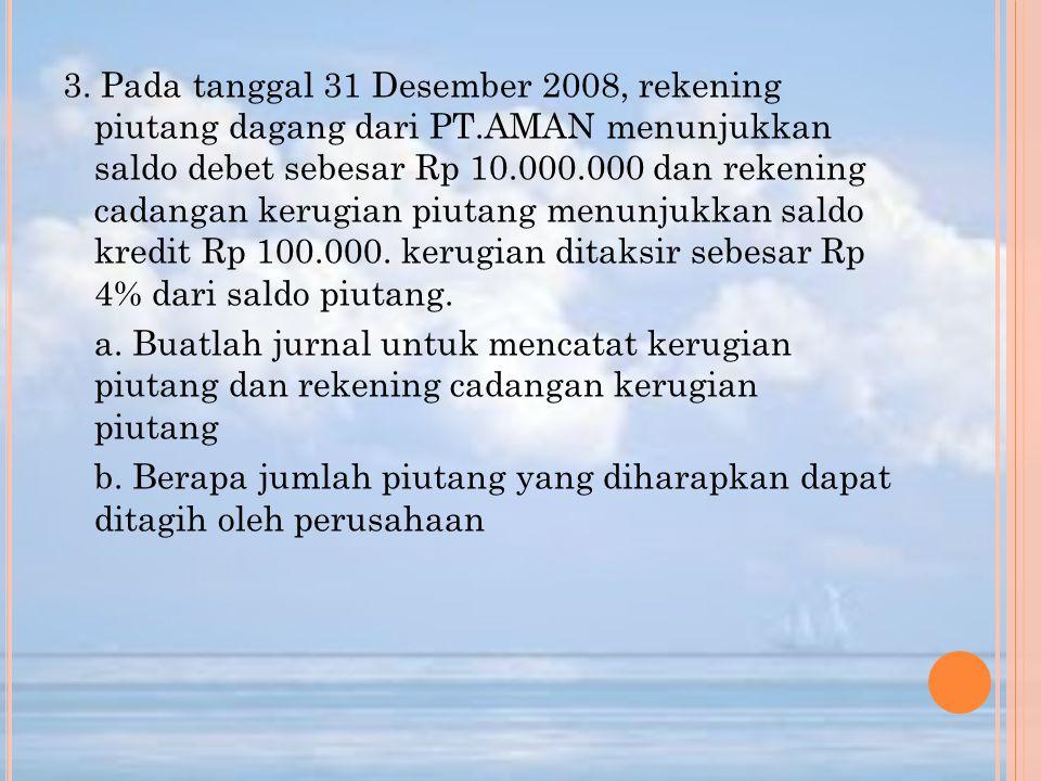 3. Pada tanggal 31 Desember 2008, rekening piutang dagang dari PT