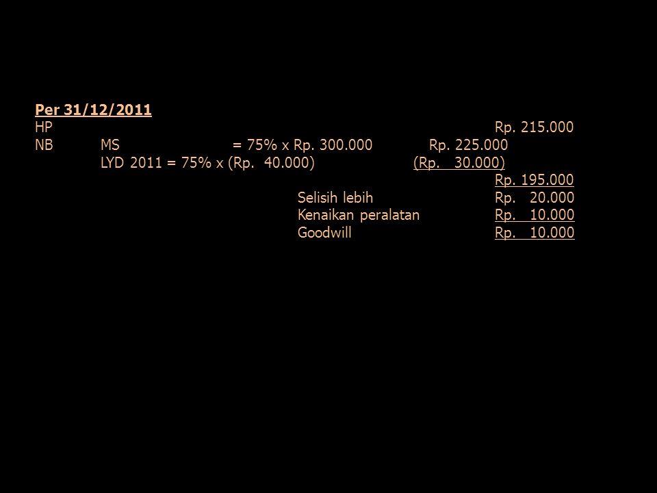 Per 31/12/2011 HP Rp. 215.000. NB MS = 75% x Rp. 300.000 Rp. 225.000. LYD 2011 = 75% x (Rp. 40.000) (Rp. 30.000)