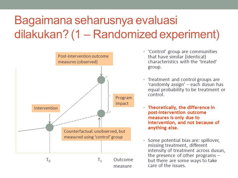 Bagaimana seharusnya evaluasi dilakukan (1 – Randomized experiment)