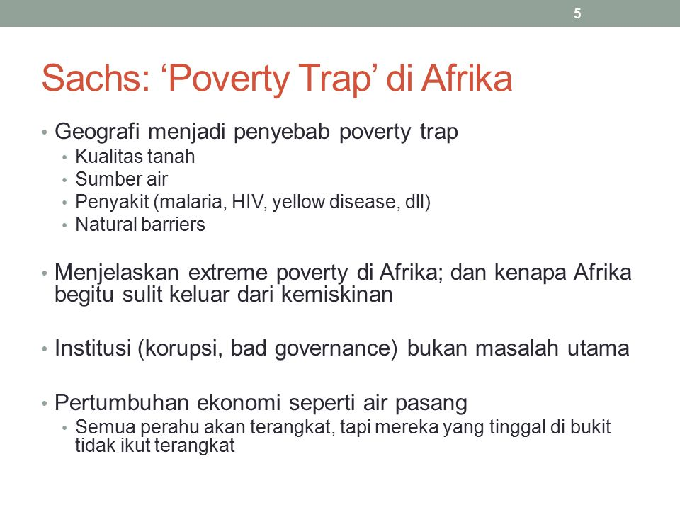 Sachs: 'Poverty Trap' di Afrika