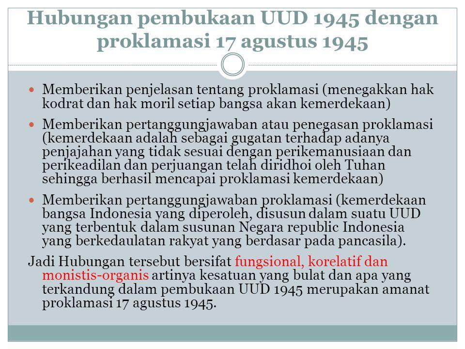 Hubungan pembukaan UUD 1945 dengan proklamasi 17 agustus 1945