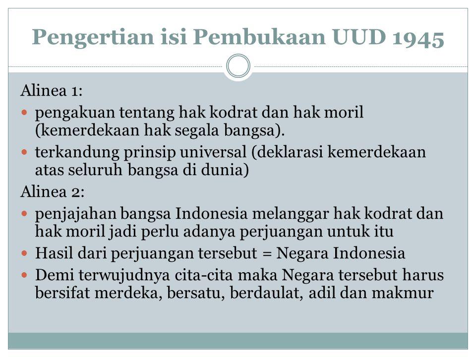 Pengertian isi Pembukaan UUD 1945