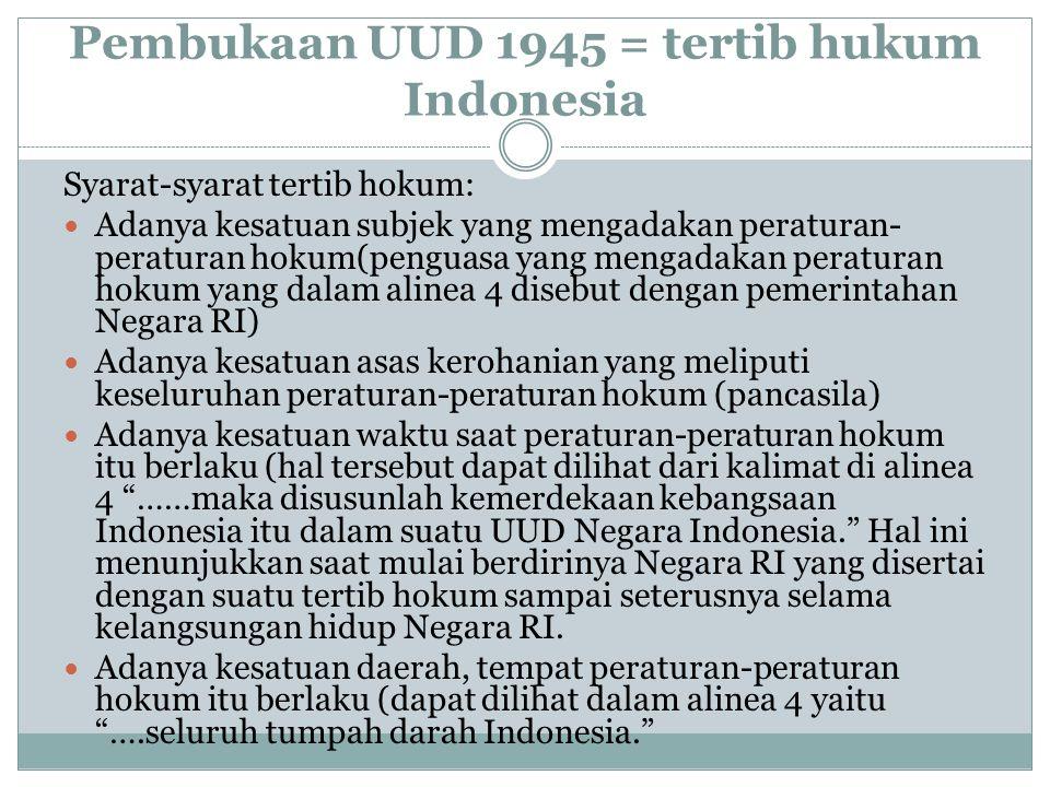Pembukaan UUD 1945 = tertib hukum Indonesia