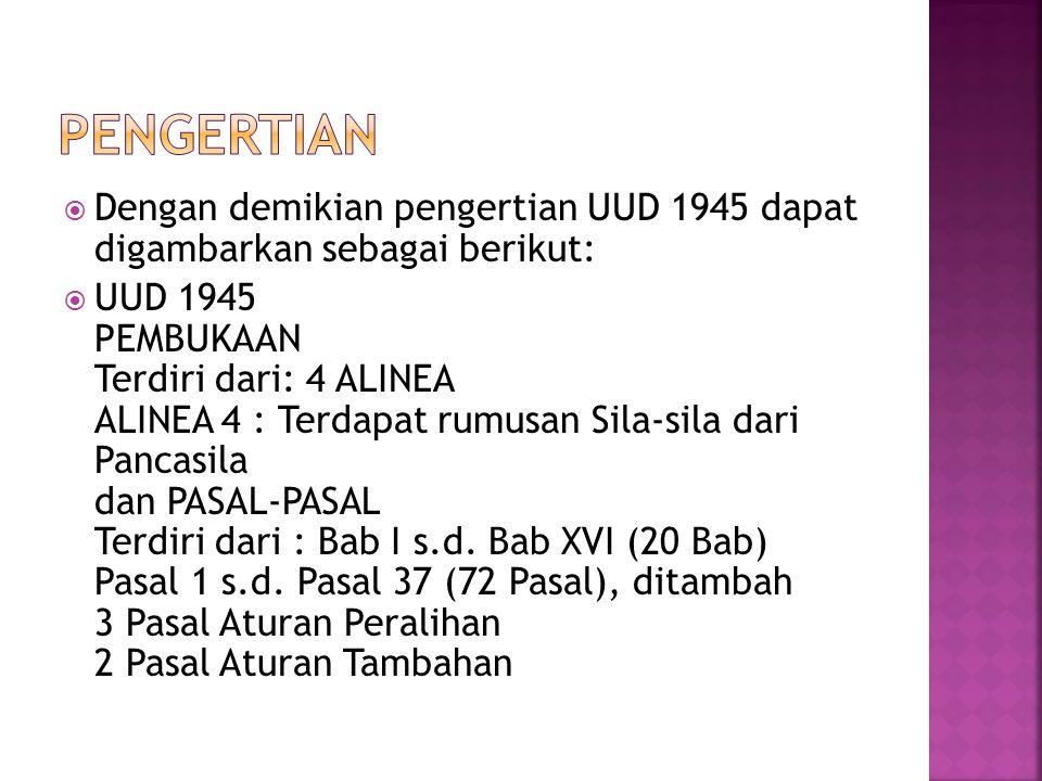 Pengertian Dengan demikian pengertian UUD 1945 dapat digambarkan sebagai berikut: