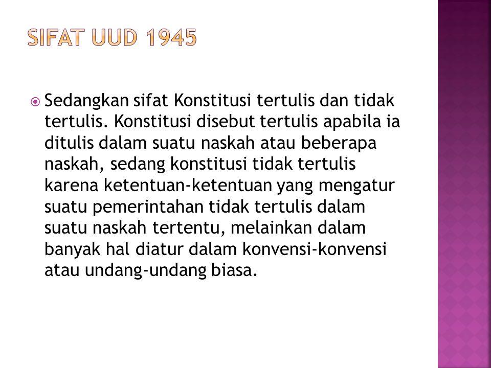 SIFAT UUD 1945