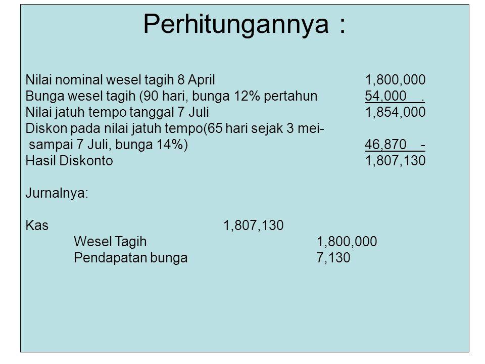 Perhitungannya : Nilai nominal wesel tagih 8 April 1,800,000
